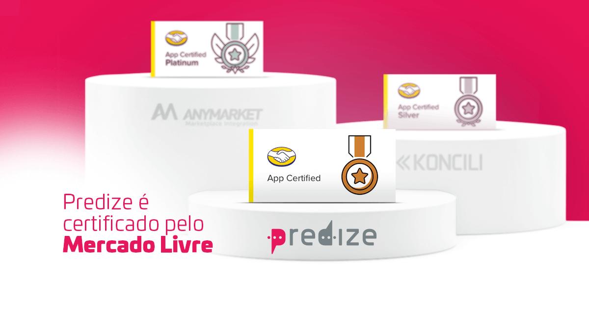 Pódio Com A Logo Do Predize Na Medalha De Aplicativo Certificado Do Mercado Livre.